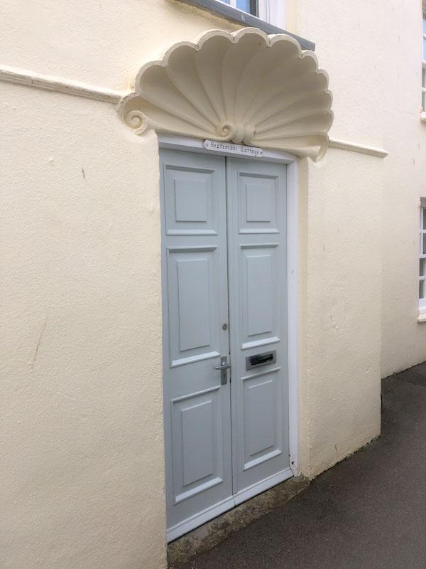 September Cottage door, Polruan, Cornwall, August 2021