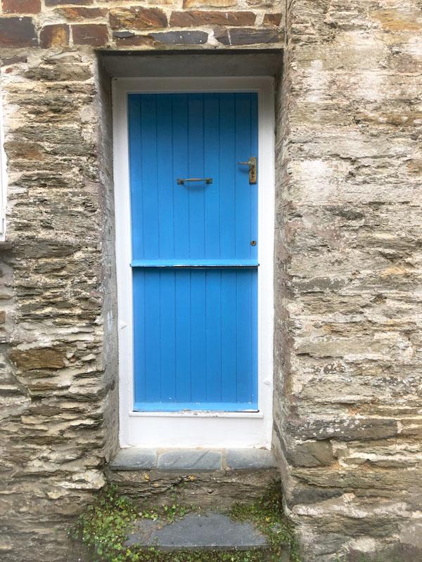 Blue split door, Polruan, Cornwall, August 2021