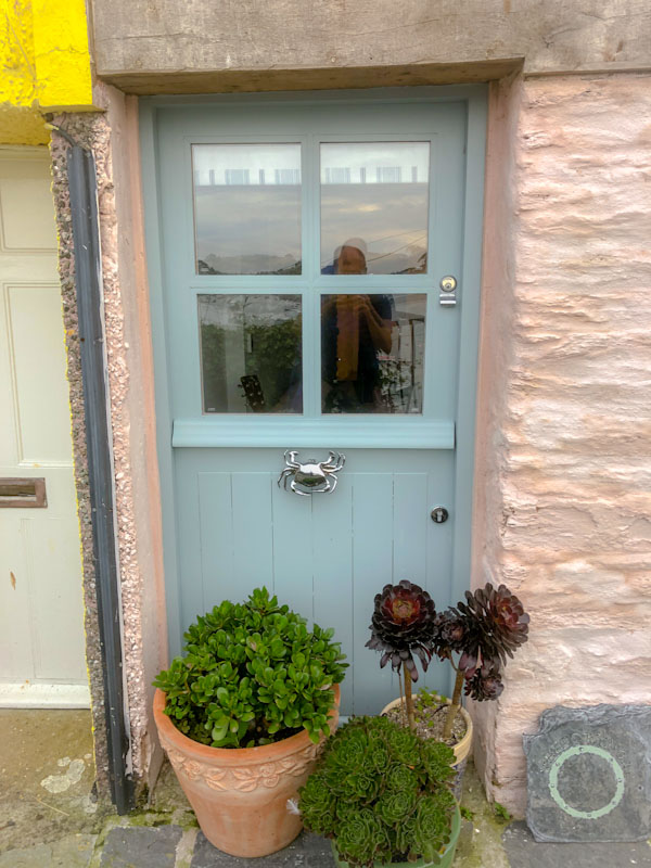 Beautiful door and crab door knocker, Polruan, Cornwall, August 2021