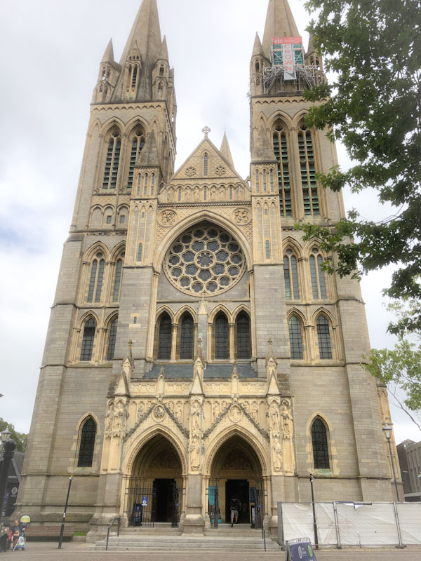Truro Cathedral entrance and doors, Cornwall, August 2021