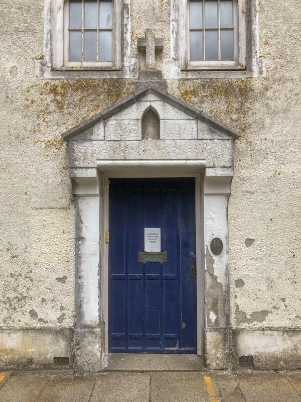 Unstable structure do not enter, door, Truro, Cornwall, August 2021