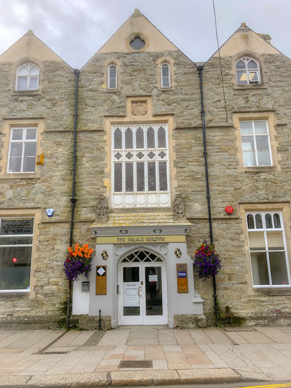 Door and fabulous windows of the Palace Building, Truro, Cornwall, August 2021