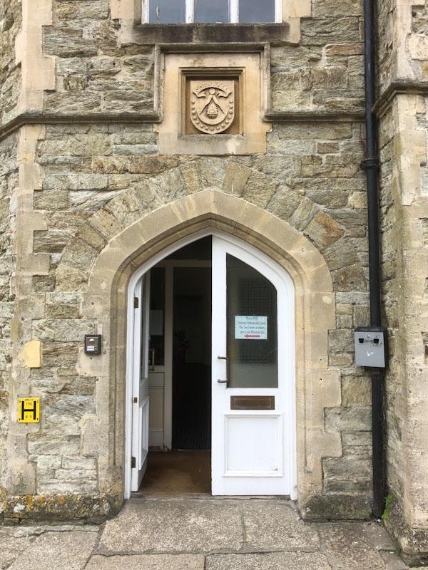 Functional door on a beautiful doorway, Truro, Cornwall, August 2021