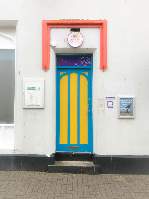 A rather different door at the Cornwall Yoga Centre, Truro, Cornwall, August 2021