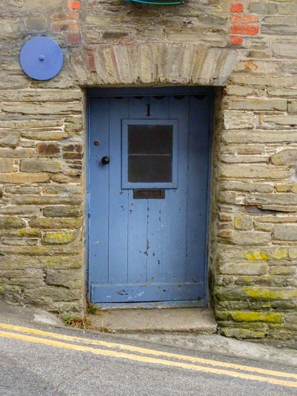 Blue hillside door, Liskeard, Cornwall, August 2021