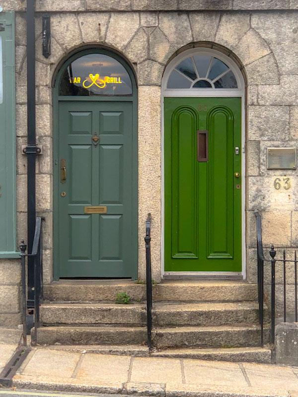 Shades of green doors, Truro, Cornwall, August 2021