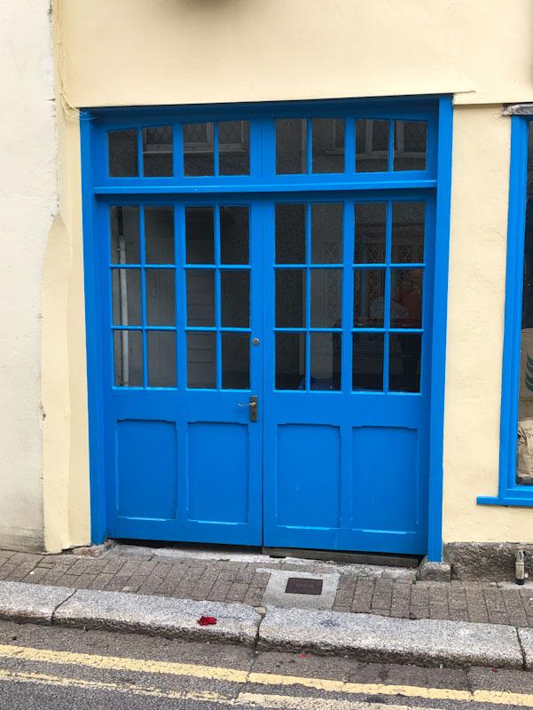 Blue double doors, Truro, Cornwall, August 2021