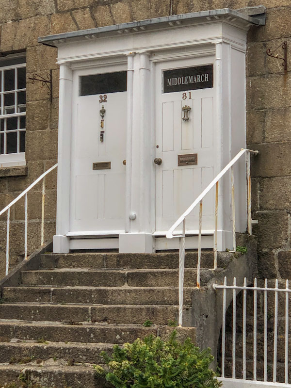 Double door and steps, Penzance, Cornwall, August 2021