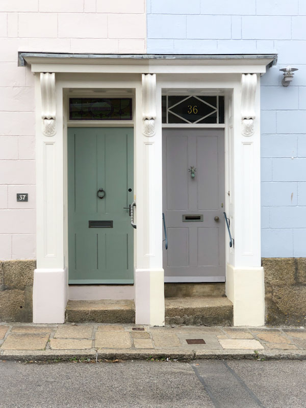 Double door and contrasting colours, Penzance, Cornwall, August 2021