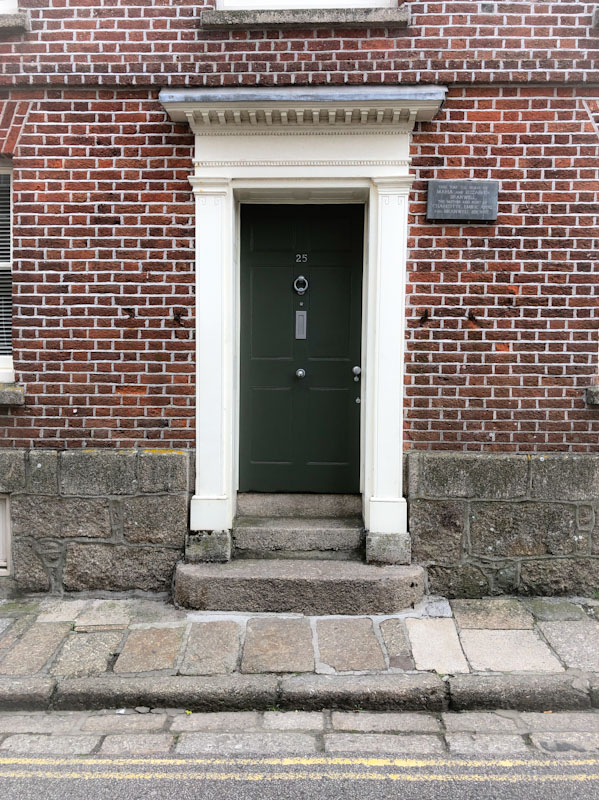 A stunning door to the former home of the mother and aunt of the Brontë sisters, Penzance, Cornwall, August 2021